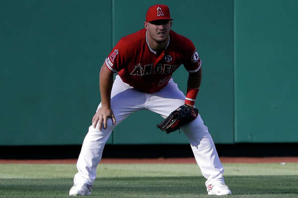 Los Angeles Angels' Mike Trout patrols the oufield during a baseball game against the Seattle Mariners Saturday, July 13, 2019, in Anaheim, Calif. (AP Photo/Marcio Jose Sanchez)