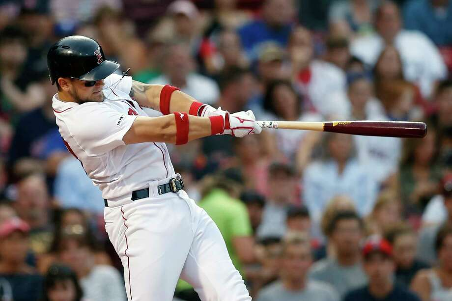Boston Red Sox's Michael Chavis follows through on his grand slam during the first inning of a baseball game against the Toronto Blue Jays in Boston, Monday, July 15, 2019. (AP Photo/Michael Dwyer) Photo: Michael Dwyer / Copyright 2019 The Associated Press. All rights reserved