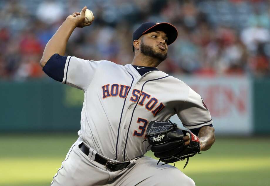 Houston Astros starting pitcher Josh James throws to the Los Angeles Angels during the first inning of a baseball game, Monday, July 15, 2019, in Anaheim, Calif. (AP Photo/Marcio Jose Sanchez) Photo: Marcio Jose Sanchez/Associated Press
