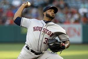 Houston Astros starting pitcher Josh James throws to the Los Angeles Angels during the first inning of a baseball game, Monday, July 15, 2019, in Anaheim, Calif. (AP Photo/Marcio Jose Sanchez)