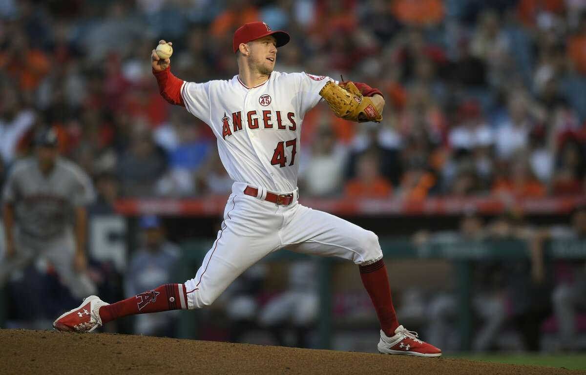 ANAHEIM, CA - JULY 15: Griffin Canning #47 of the Los Angeles Angels of Anaheim pitches against the Houston Astros in the first inning at Angel Stadium of Anaheim on July 15, 2019 in Anaheim, California. (Photo by John McCoy/Getty Images)