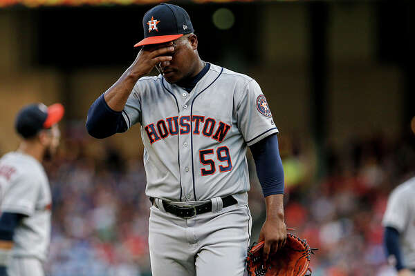 Starting pitcher Framber Valdez of the Houston Astros is relieved during the first inning against the Texas Rangers at Globe Life Park in Arlington, Texas, on Thursday, July 11, 2019. The Rangers won, 5-0. (Brandon Wade/Getty Images/TNS) **FOR USE WITH THIS STORY ONLY**