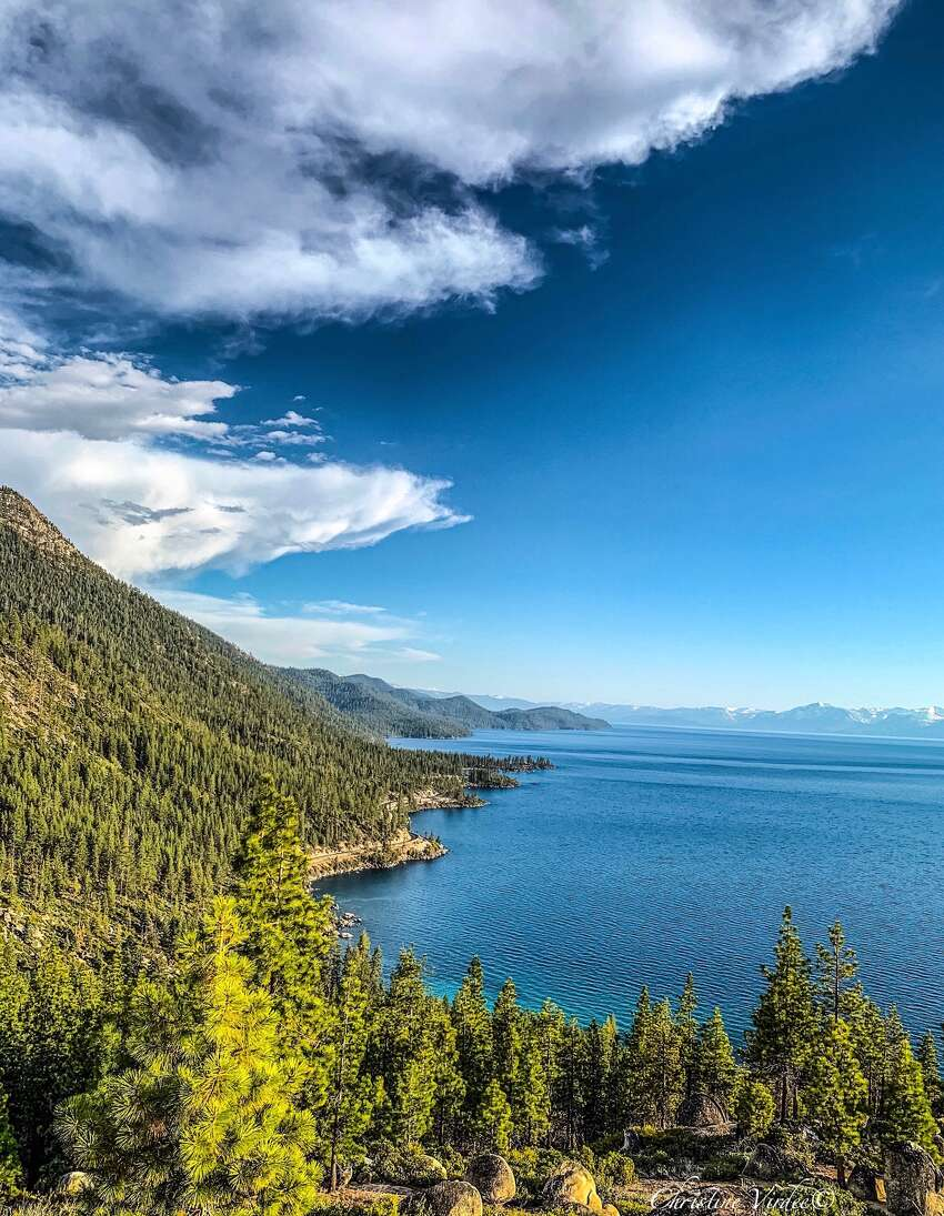 This photos of Lake Tahoe's east shore taken on July 14, 2019, shows the high level of the water.