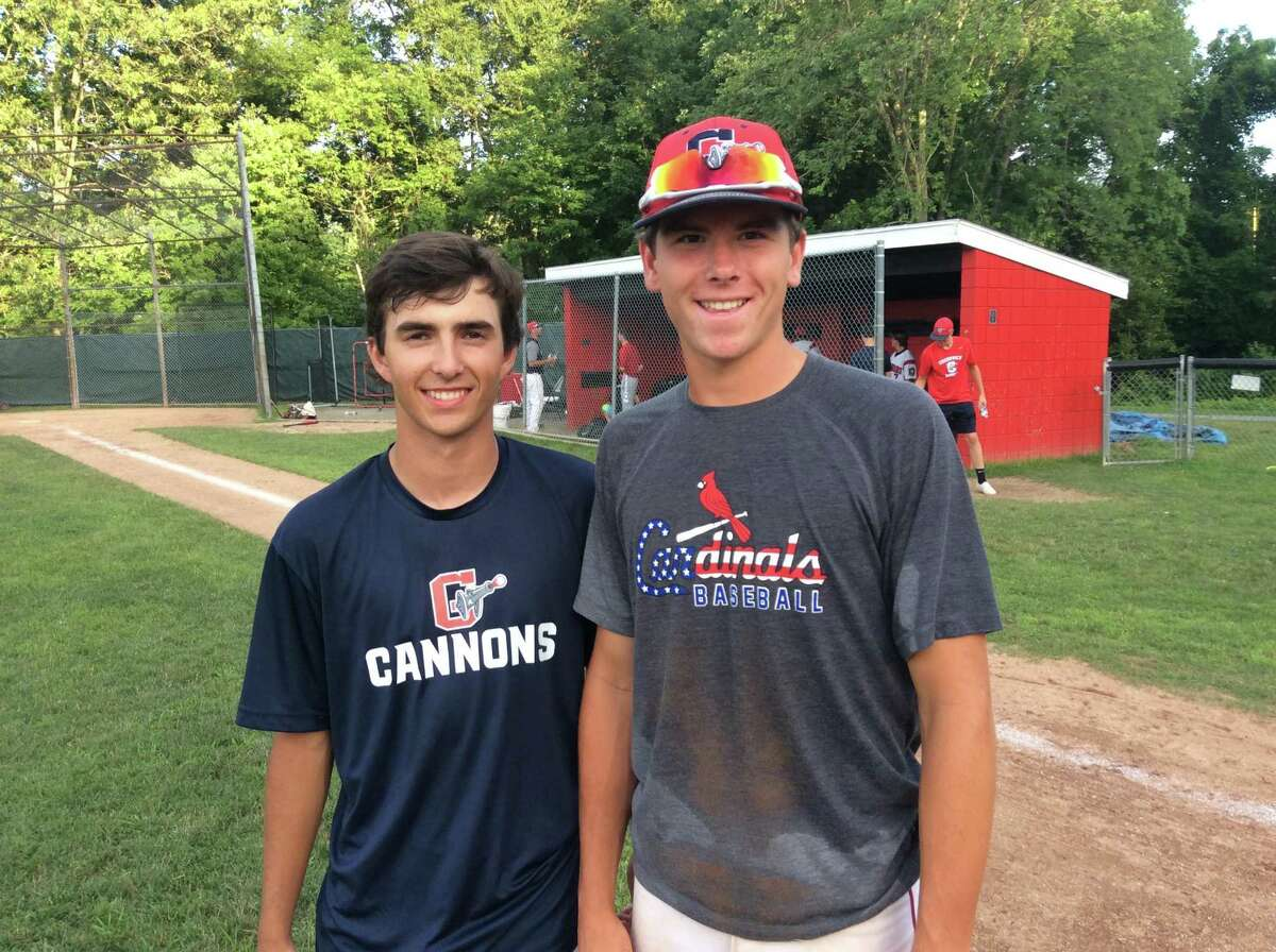 Luc Thiebault, left, and Christopher Genaro helped key the Greenwich Cannons' 4-3 comeback victory against Ridgefield on Monday Night in Senior American Legion baseball action.