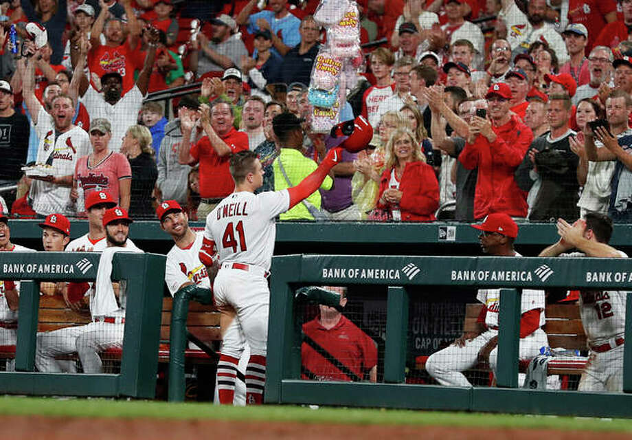 St. Louis Cardinals' Tyler O'Neill waves to fans after hitting his second home run game against the Pittsburgh Pirates during the seventh inning Monday in St. Louis. Photo: AP