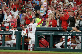 St. Louis Cardinals' Tyler O'Neill waves to fans after hitting his second home run game against the Pittsburgh Pirates during the seventh inning Monday in St. Louis.