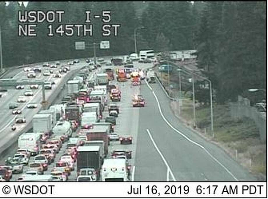 All northbound lanes of I-5 were blocked Tuesday morning after a hit-and-run crash involving three vehicles and a semi-trailer tractor. Photo: Courtesy WSDOT