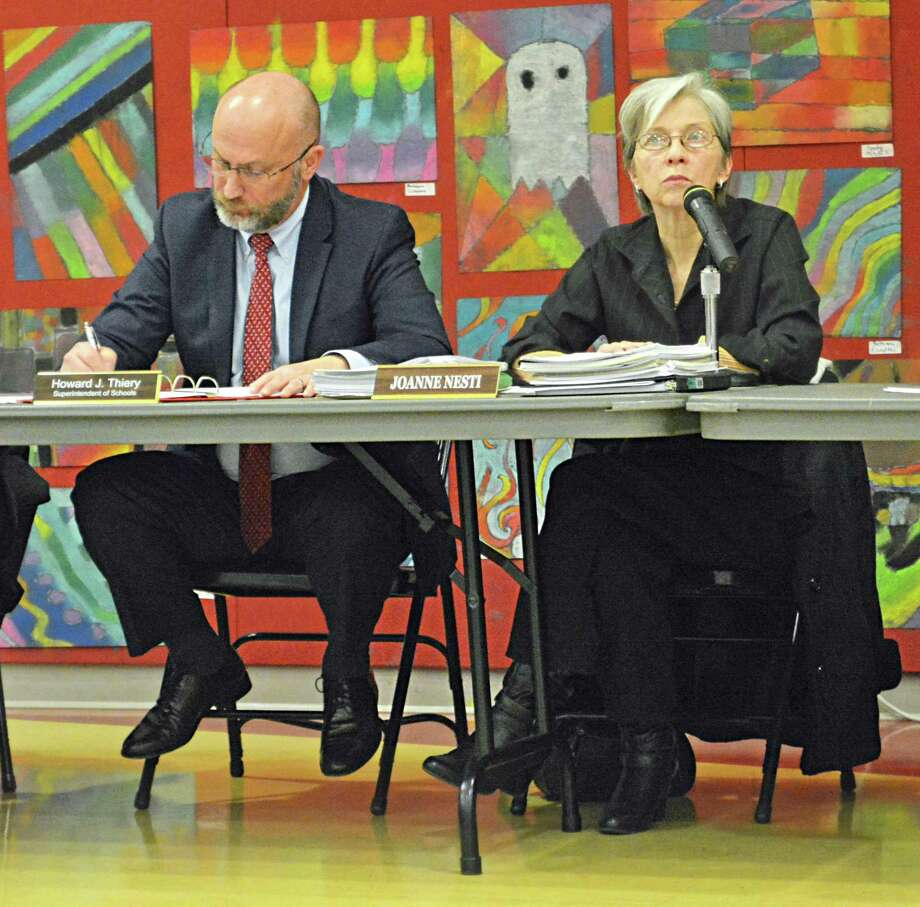 Haddam-Killingworth Schools Superintendent Howard J. Thiery, left, and Board of Education Chairwoman Joanne Nesti attend a school board meeting in February. Photo: Hearst Connecticut Media File Photo