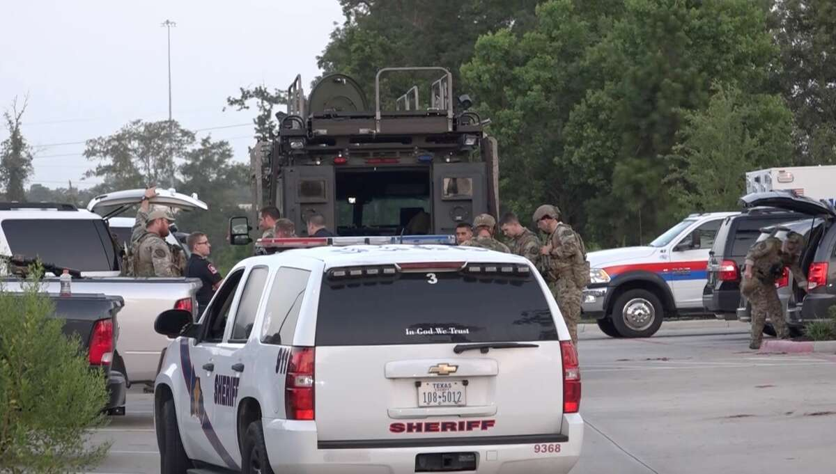 Montgomery County Sheriff's Office SWAT officers help arrest a shooting suspect in Kingwood on Tuesday, July 16, 2019.