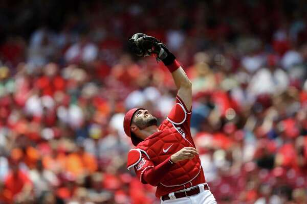 Cincinnati Reds' Curt Casali in a baseball game against the Houston Astros, Wednesday, June 19, 2019, in Cincinnati. The Reds won 3-2. (AP Photo/Aaron Doster)
