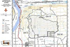 A map shows the 7,800-acre area consumed by the Powerline Fire just north of Mattawa in eastern Washington.