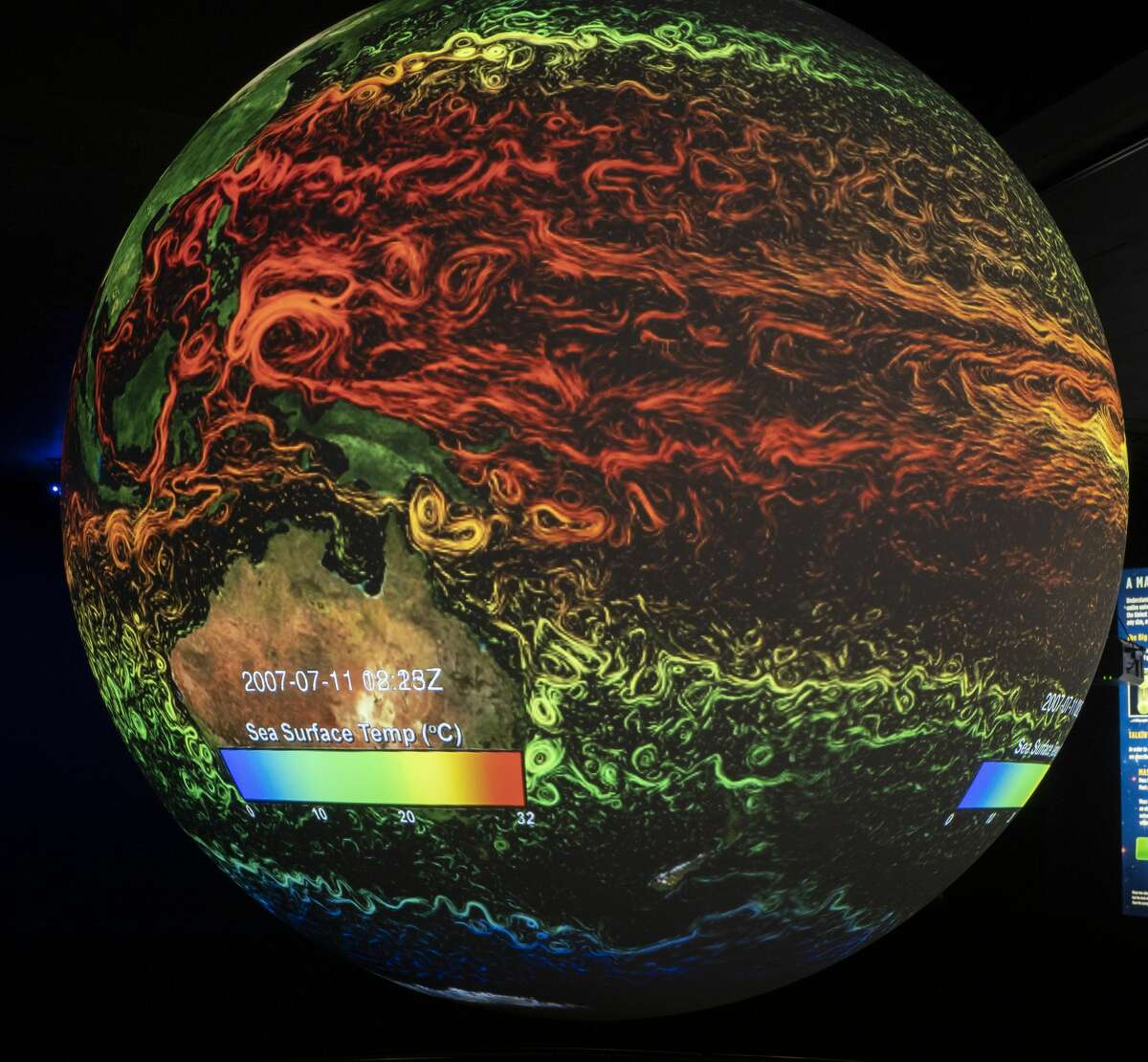 Science on a Sphere display showing sea surface temperatures 07/15/19 at the Blakemore Planetarium. The 6 foot sphere, presented by Cimarex, utilizes four projectors to display multiple images of the earth as well as planets, moons and the sun. Tim Fischer/Reporter-Telegram