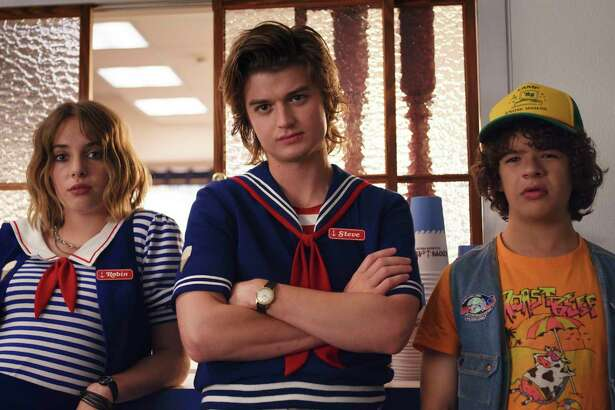 "Maya Hawke, Joe Keery and Gaten Matarazzo in ""Stranger Things."""