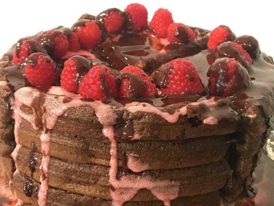 This chocolate raspberry waffle cake is baked without the oven. Photo: TinaMarie Craven/ Hearst Connecticut Media