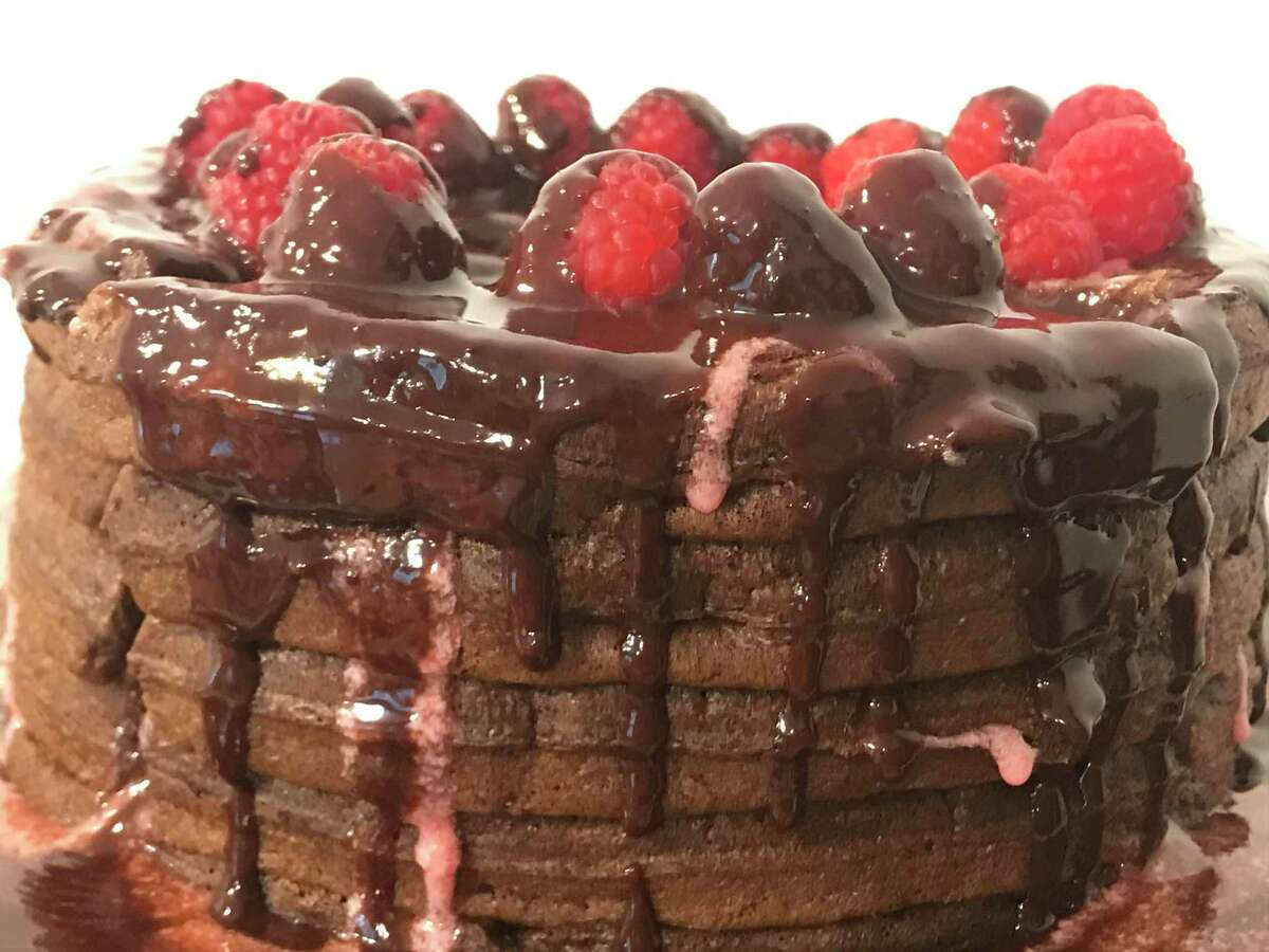 This chocolate raspberry waffle cake is baked without the oven.