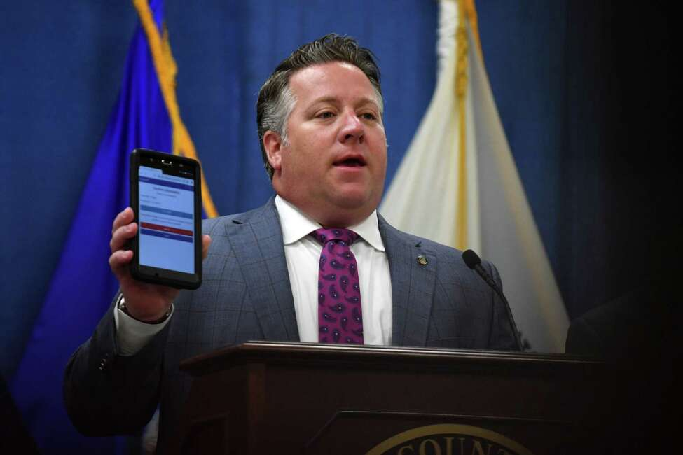 Albany County Executive Dan McCoy introduces a new pilot program to better provide suicide prevention resources to juvenile offenders on Tuesday morning, July 16, 2019, at the Albany County Office Building in Albany, N.Y. (Will Waldron/Times Union)