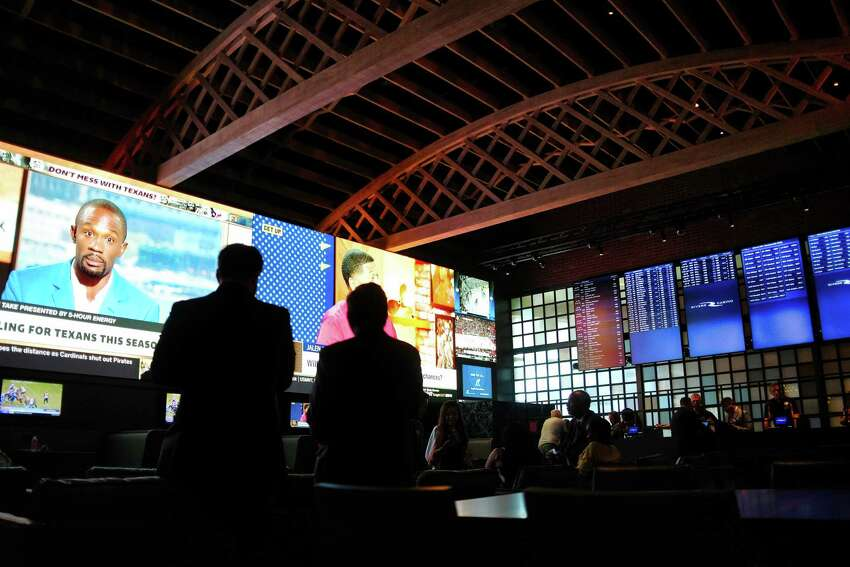 People gather for opening day at the Rivers Sportsbook on Tuesday, July 16, 2019, in Schenectady, N.Y. (Paul Buckowski/Times Union)