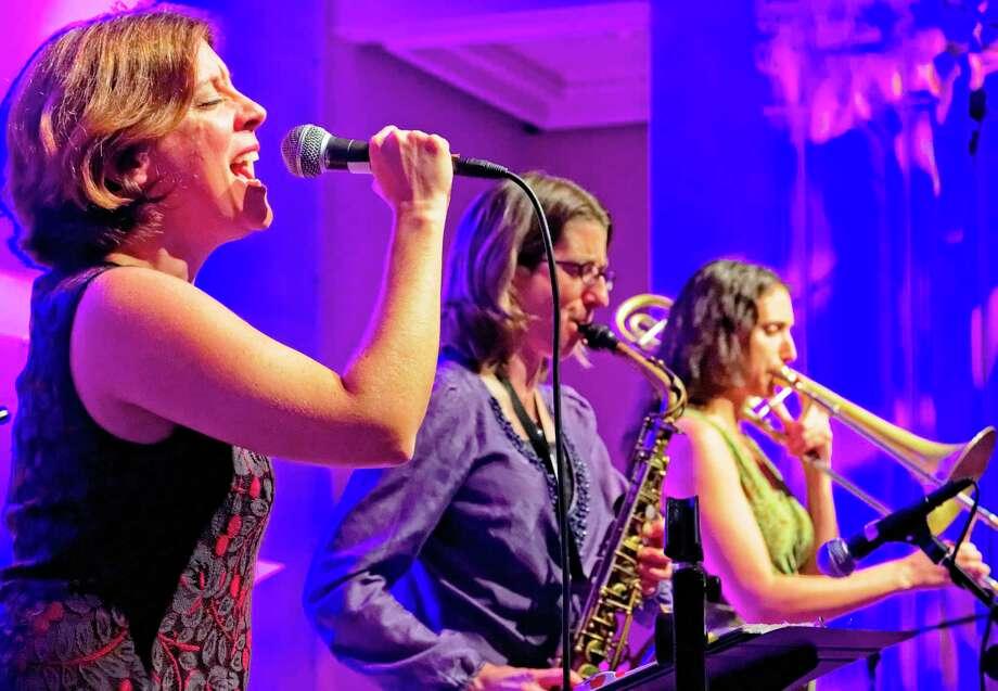 from left, Missy Fogarty, Debra Kreisberg, and Reut Regev of the New York band Metropolitan Klezmer. Photo: Courtesy Hank Gans / Courtesy Hank Gans
