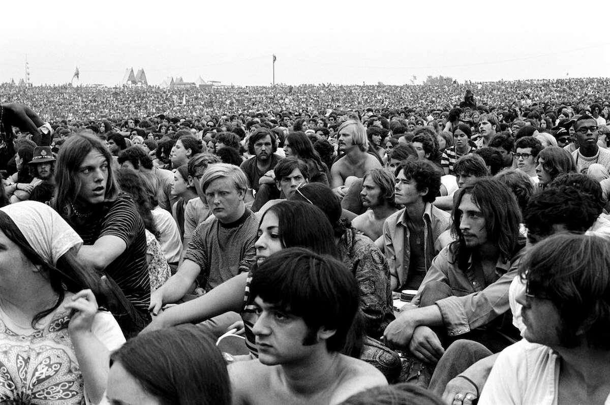 A photo from the Woodstock festival, used in a scene from the film