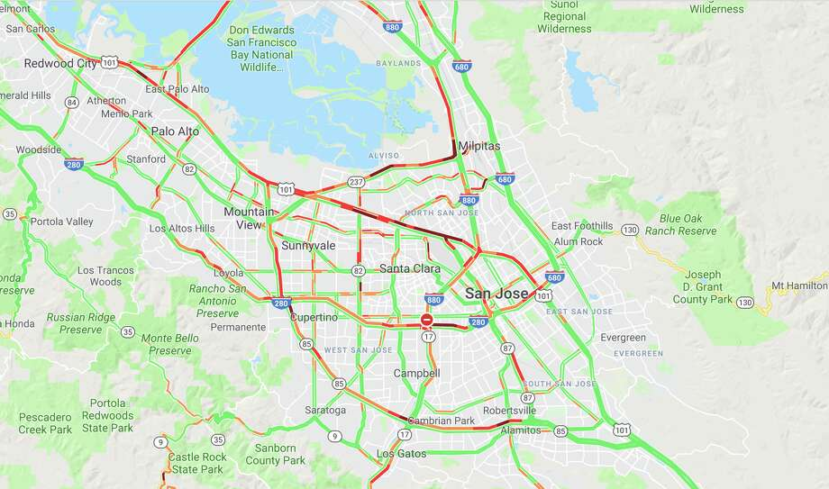 Traffic on Highway 101 in the San Francisco Bay Area looks like a mess at 10 a.m. on July 16, 2019. Photo: Google Maps Screen Capture