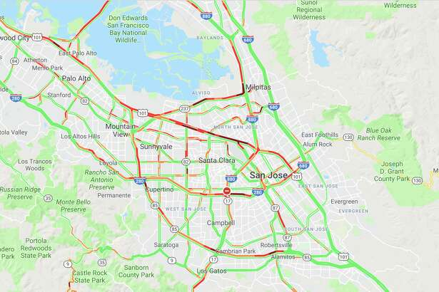 Traffic on Highway 101 in the San Francisco Bay Area looks like a mess at 10 a.m. on July 16, 2019.