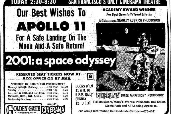 """An Apollo 11-themed advertisement for """"2001: A Space Odyssey"""" that appeared in The San Francisco Chronicle in July 1969."""