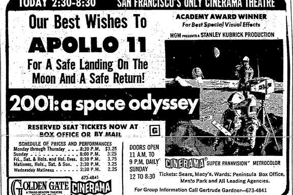 "An Apollo 11-themed advertisement for ""2001: A Space Odyssey"" that appeared in The San Francisco Chronicle in July 1969."