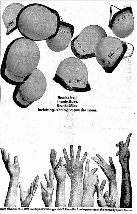 """An Apollo 11-themed advertisement for """"TWA that appeared in The San Francisco Chronicle in July 1969. Photo: Chronicle Archives"""