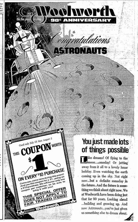 An Apollo 11-themed advertisement for Woolworth that appeared in The San Francisco Chronicle in July 1969. Photo: Chronicle Archives