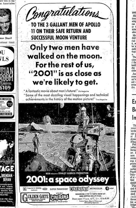 """An Apollo 11-themed advertisement for """"2001: A Space Odyssey"""" that appeared in The San Francisco Chronicle in July 1969. Photo: Chronicle Archives"""