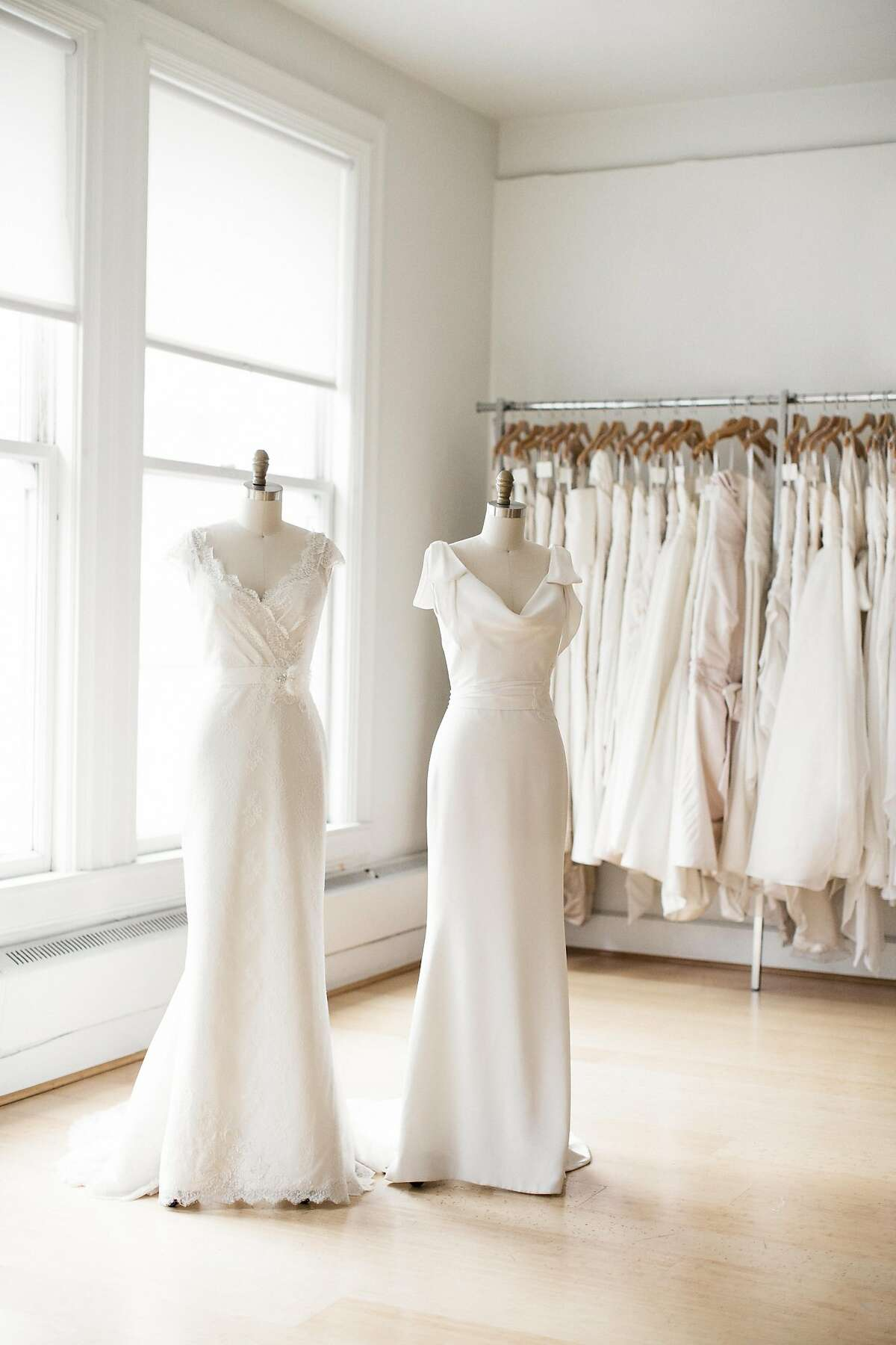 """Amy Kuschel's bridal salon and shop in Union Square. Alison Rinderknecht of founder of Alison Event Planning & Design considers Kuschel's collection """"simple, beautiful, and affordable."""""""