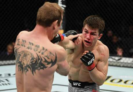 Alexander Hernandez, punching Donald Cerrone in their lightweight bout during the UFC Fight Night event at the Barclays Center in January, will be on the UFC card in San Antonio on Saturday.