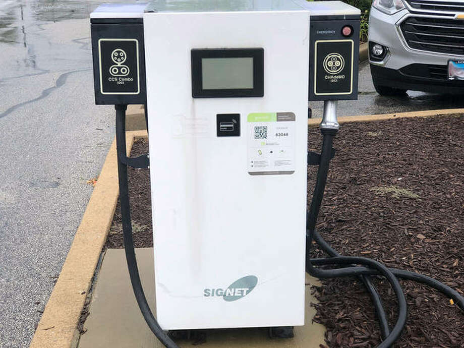 The electric vehicle charging station behind Edwardsville City Hall has served 63 customers in almost four years since Nissan provided it as part of a campaign for an Electric Route 66 Corridor. It is one of four EV charging stations in town with more planned.