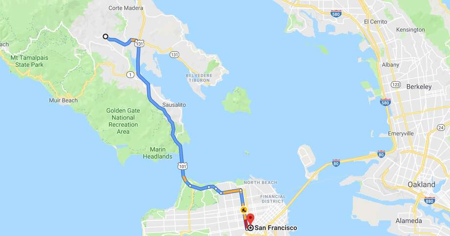 Sample commute from Mill Valley to San Francisco from Google Maps. Photo: Google Maps
