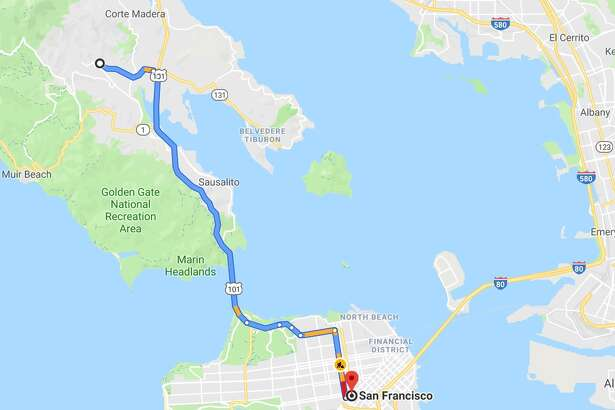 Sample commute from Mill Valley to San Francisco from Google Maps.