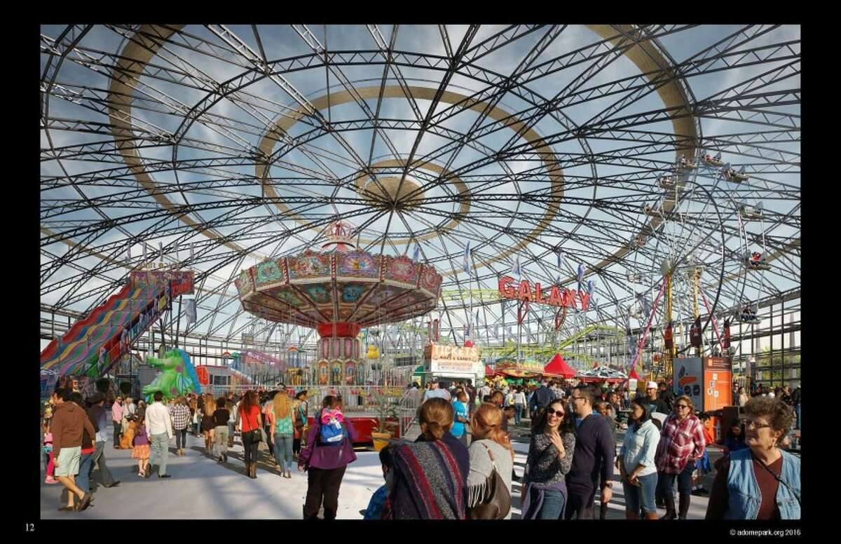 Renderings of A-Dome Park, a proposal to turn the Astrodome into a public park.