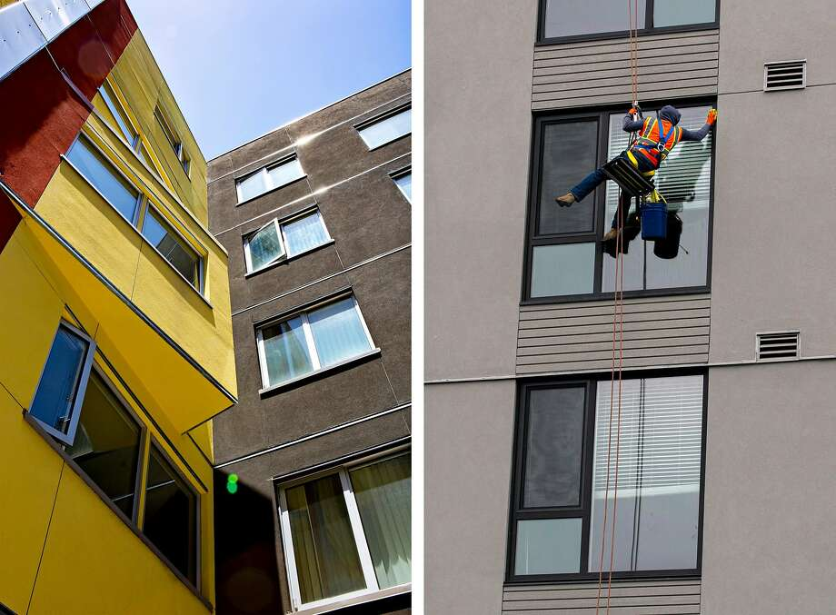 Left: Mural affordable housing at MacArthur Transit Village in Oakland. Mural's 90 affordable units represent the first residential phase of the village. Right: A worker cleans the exterior windows of the market-rate MacArthur Commons next to Mural. Photo: Photos By Santiago Mejia / The Chronicle