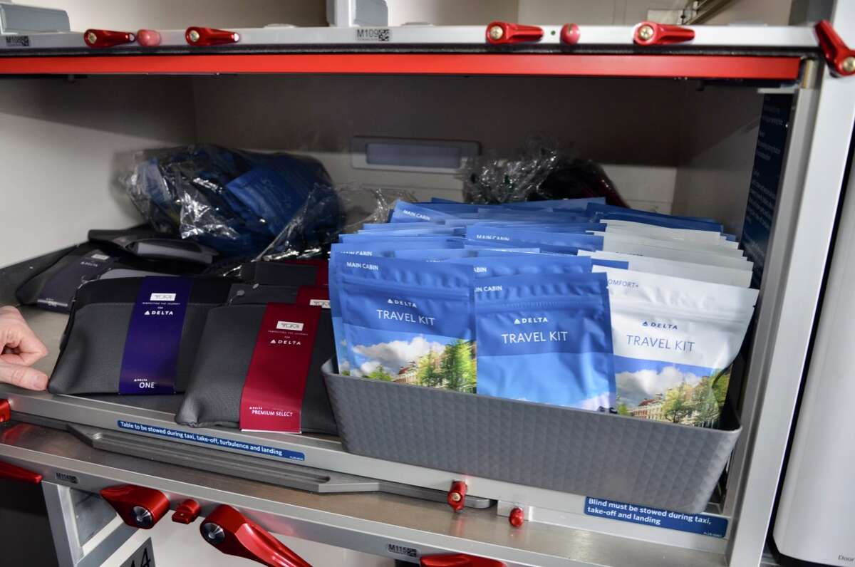 On Delta's international flights, everyone gets a travel kit - even in economy class.