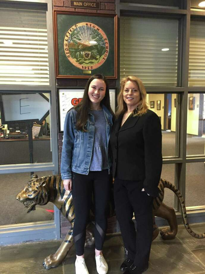 Dr. Stacey Gross pictured with RHS senior Fiona Sleigh, a finalist in the 2019 National Merit Scholarship Competition. Photo: Stacey Gross / Contributed