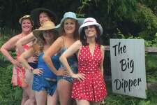 "Featured in the Town Players of New Canaan's production of ""The Dixie Swim Club"" are Kate Telfer, Ann Alford, Marcy Whitten, Janine Wolfe and Deborah Burke."