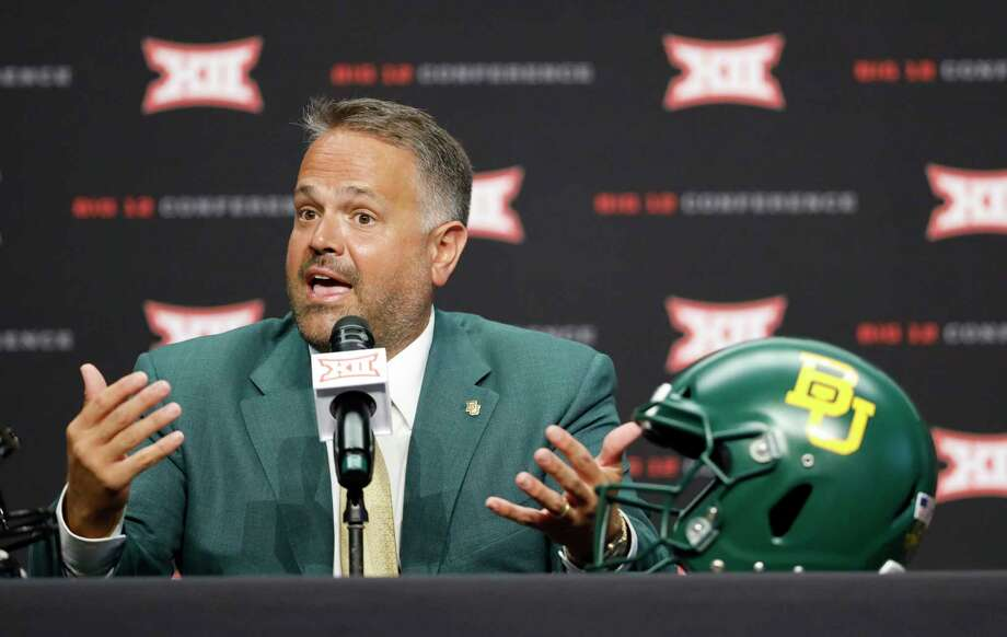 PHOTOS: College football players from the Houston area to watch in 2019  Baylor head coach Matt Rhule speaks during Big 12 Conference NCAA college football media day Tuesday, July 16, 2019, at AT&T Stadium in Arlington, Texas. (AP Photo/David Kent)  >>>Here are 10 college football players from the Houston area to keep an eye on for the 2019 season ...  Photo: David Kent, Associated Press / Copyright 2019 The Associated Press. All rights reserved.