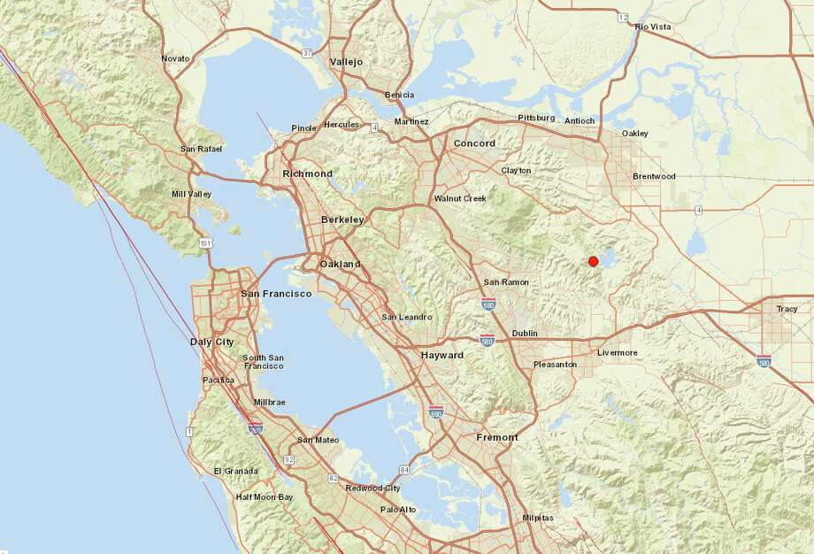 An earthquake with a preliminary magnitude of 4.4 was centered east of San Ramon, Calif. and felt around the East Bay on July 16, 2019. Photo: USGS