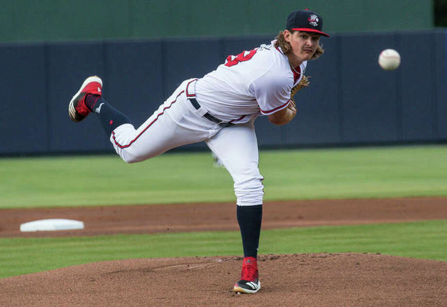 Edwardsville High School graduate Trey Riley, a fifth-round draft choice of the Atlanta Braves i 2018, is pitching this season for the Rome Braves, Atlanta's Class A affiliate in the South Atlantic. Riley is currently on the seven-day injured list. Photo: Mills Fitzner/Rome Braves