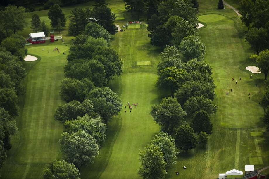 Midland Country Club as seen from the air during the Dow Great Lakes Bay Invitational Pro-Am tournament on Tuesday, July 16, 2019. (Katy Kildee/kkildee@mdn.net) Photo: (Katy Kildee/kkildee@mdn.net)
