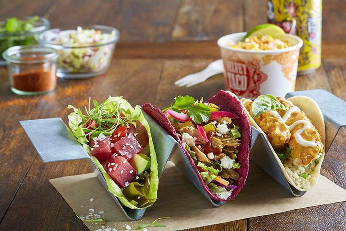 An assortment of tacos from Velvet Taco, the Dallas-based restaurant set to open near the Pearl inside the former Viva Tacoland.