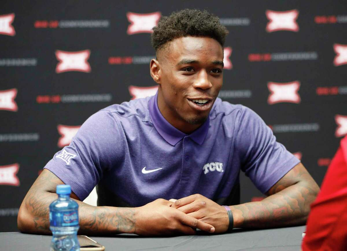 TCU senior safety Innis Gaines speaks to the media on the first day of Big 12 NCAA college football media days Monday, July 15, 2019, at AT&T Stadium in Arlington, Texas. (AP Photo/David Kent)