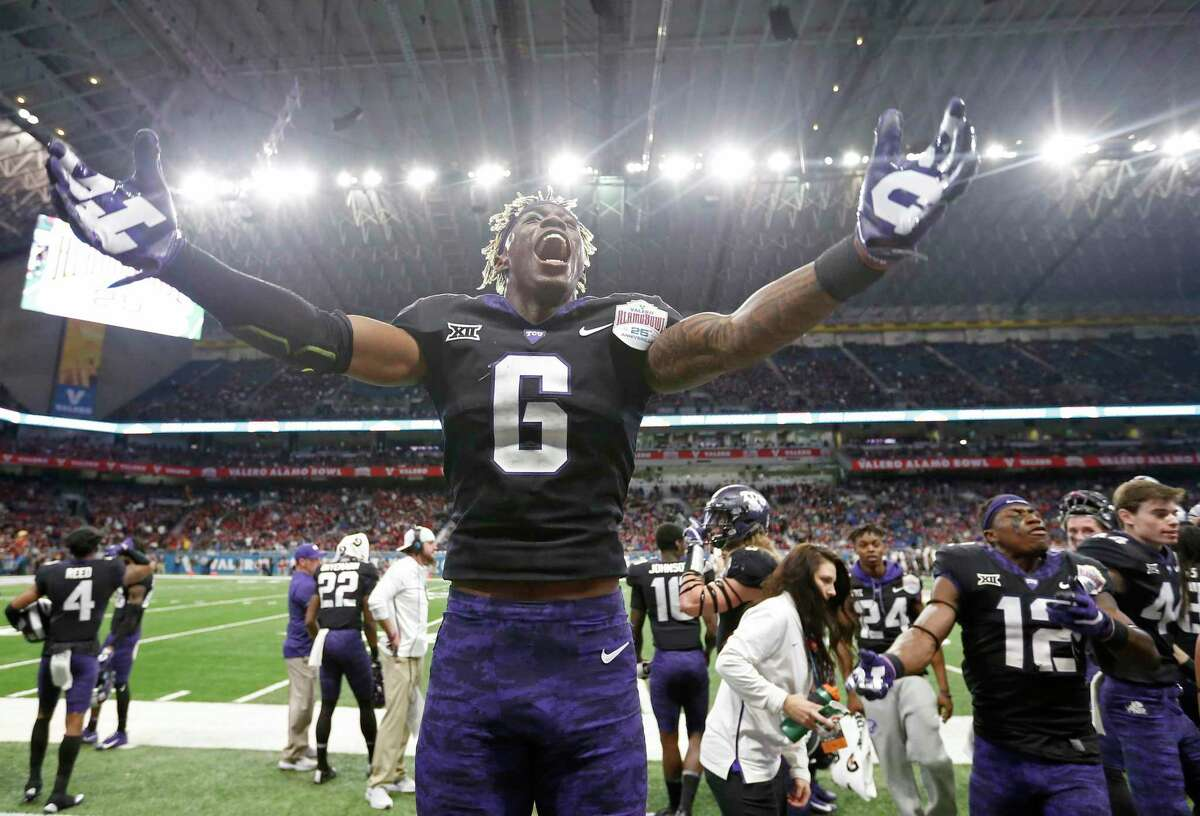 TCU safety Innis Gaines (6) celebrates late in second half action of the Alamo Bowl against Stanford Thursday Dec. 28, 2017 at the Alamodome. TCU won 39-37.