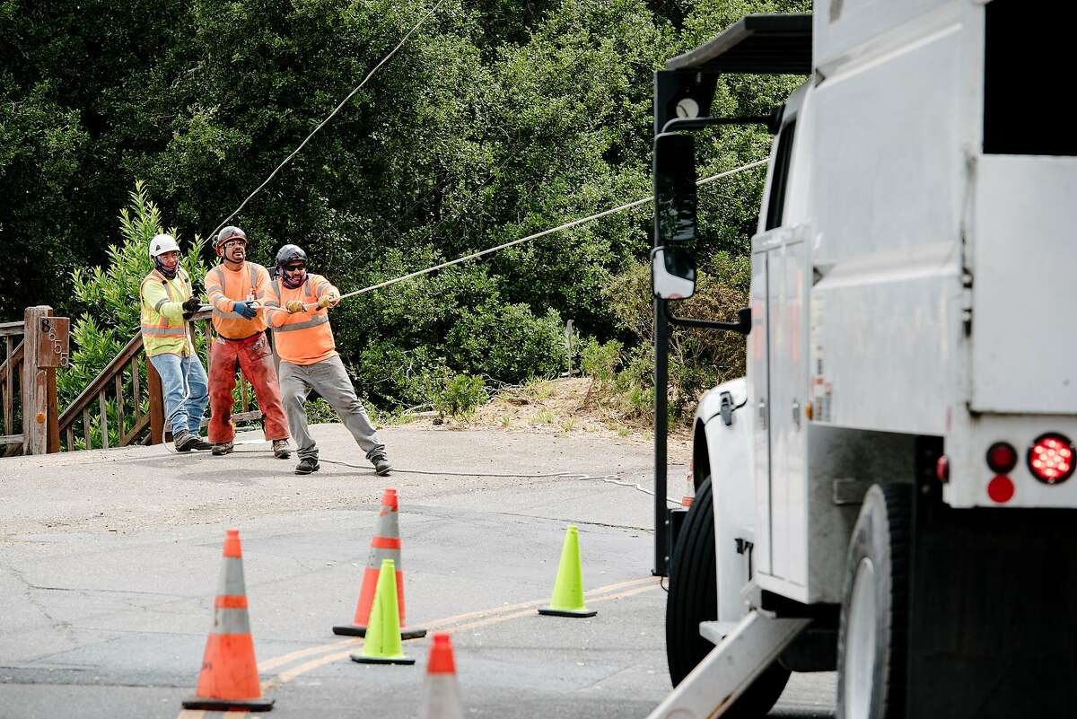 Crew members with Mowbray's Tree Service, contracted by PG&E to handle vegetation management, lower a branch with ropes as they trim back trees along Skyline Blvd. in Oakland, CA on June 26th, 2019.