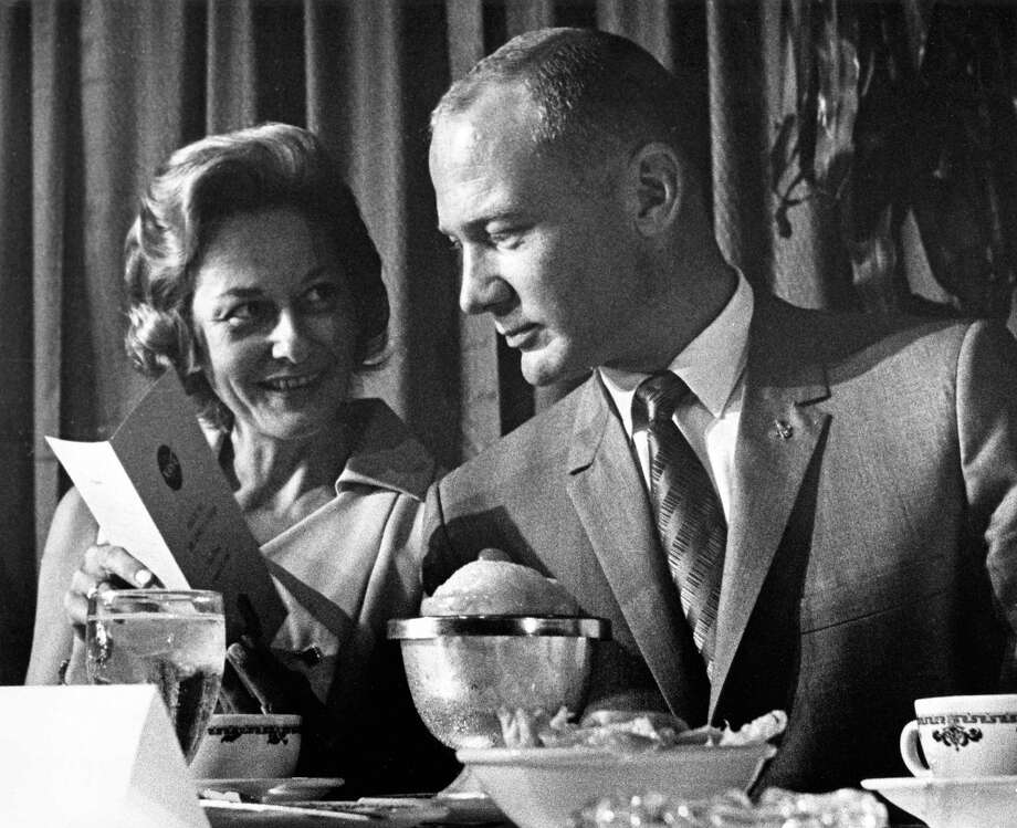 """Joan and Edwin """"Buzz"""" Aldrin, shown at a luncheon at the Rice Hotel, were familiar faces to those who participated in productions at Clear Creek Community Theatre in the late 1960s. Joan Aldrin was active as an actress, board member and volunteer with the theater. Photo: Owen Johnson, HP Staff / Houston Chronicle / Houston Chronicle"""