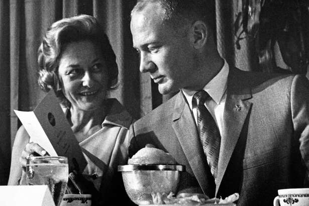 """Joan and Edwin """"Buzz"""" Aldrin, shown at a luncheon at the Rice Hotel, were familiar faces to those who participated in productions at Clear Creek Community Theatre in the late 1960s. Joan Aldrin was active as an actress, board member and volunteer with the theater."""